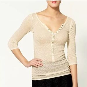 Intimately Free People Pointelle Henley Top